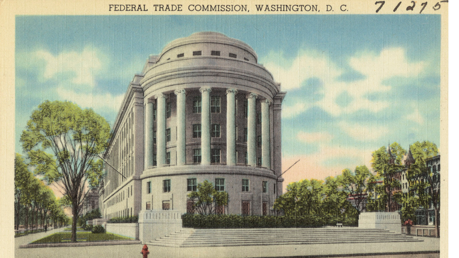 Old postcard of FTC building.
