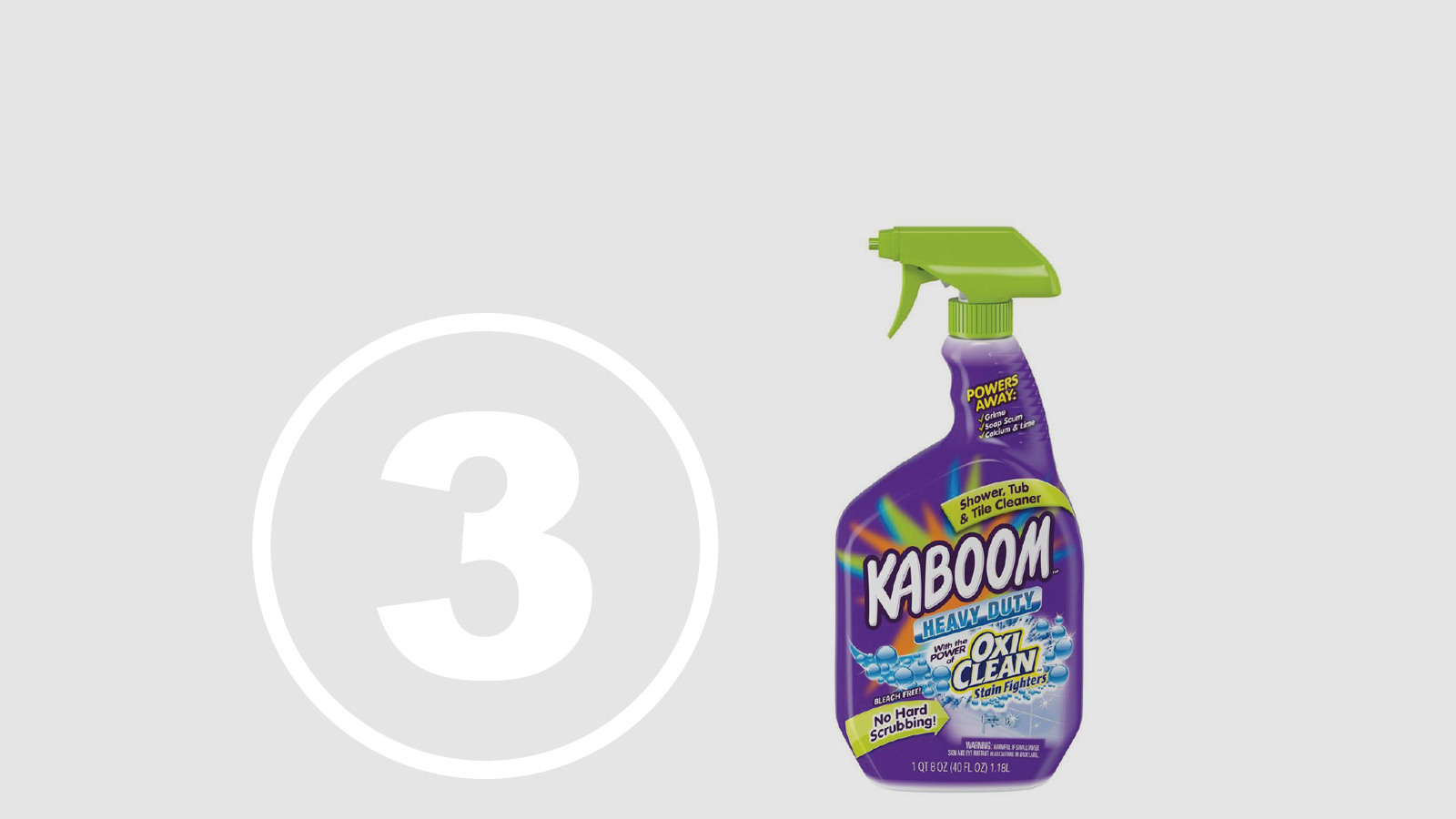 """<h5>Top Ten Most Hazardous Products</h5><h4>Kaboom with OxiClean Shower Tub & Tile Cleaner</h4><p>Marketed as a """"great cleaner that is safe and friendly to use,"""" made by Church & Dwight Co.<br />We found <span class=""""highlight"""">15 chemicals</span> chemicals linked to chronic health effects with <span class=""""highlight"""">66.7% hidden in """"fragrance.""""</span></p>"""